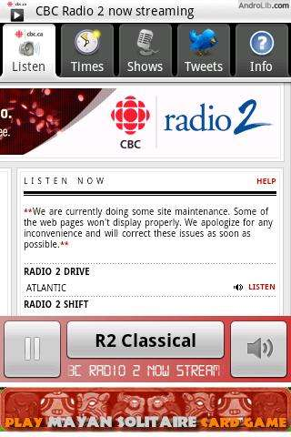 CBC Radio Live Stream, a now-defunct Android app