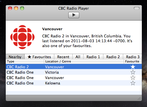 CBC Radio Player, as initially released